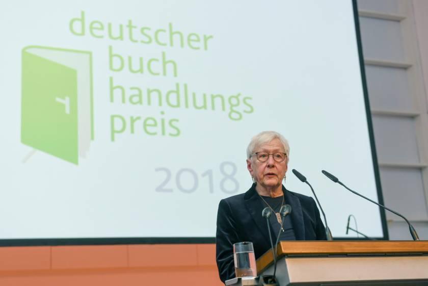 Frau Hildegund Laaff- v. Kienle-Reum bei der Verleihung des Buchhandlungspreises 2018 an die Lengfeld´sche Buchhandlung in Köln